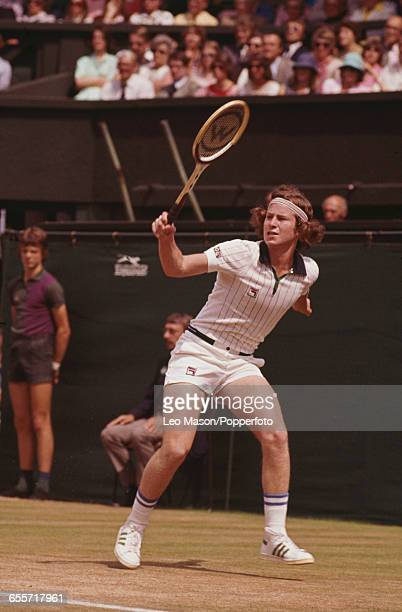 American tennis player John McEnroe pictured in action during competition to reach the semifinals of the Men's singles tournament at the Wimbledon...