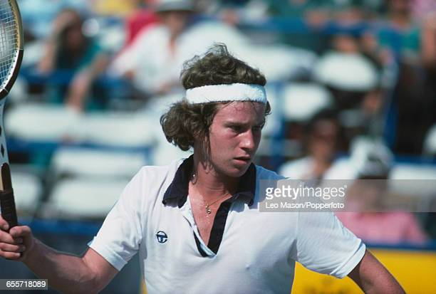 American tennis player John McEnroe pictured in action during competition to progress to reach the semifinals of the 1978 US Open Men's Singles...