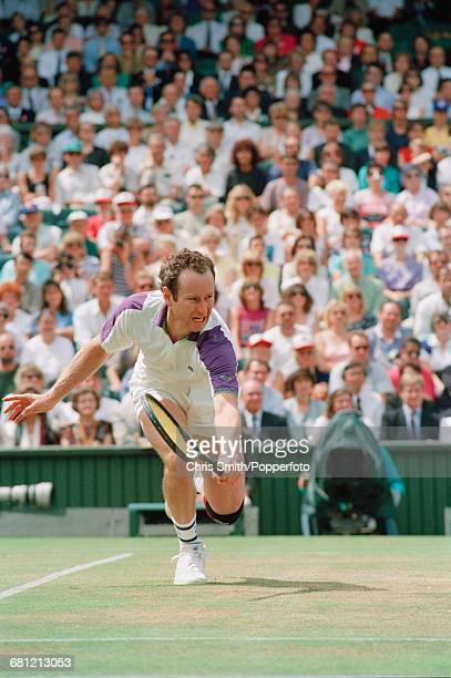 American tennis player John McEnroe pictured in action to lose his semifinal match against fellow American tennis player Andre Agassi 46 26 36 in the...