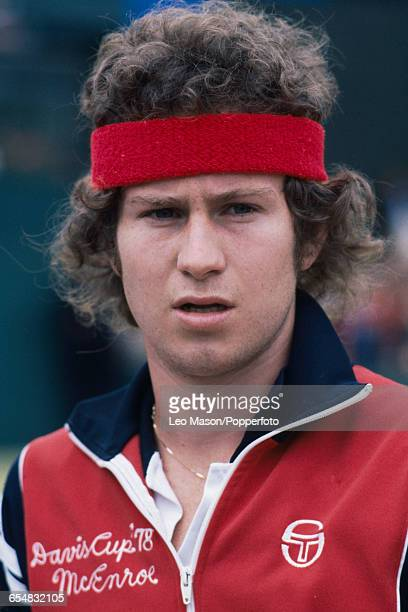 American tennis player John McEnroe posed during competition in the 1979 Davis Cup Americas Zone tournament in the United States in 1979