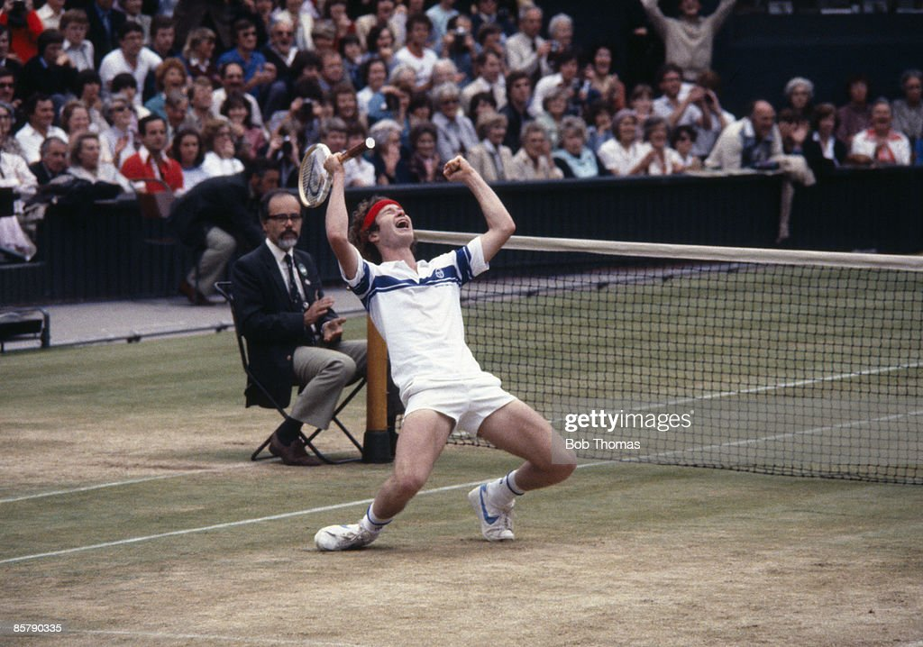 John McEnroe of the USA celebrates victory after winning the Mens Singles Final at the Wimbledon Lawn Tennis Championships held in London, England during July 1981. He defeated Bjorn Borg of Sweden. (Photo by Bob Thomas/Getty Images).