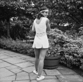 American tennis player Julie Heldman modeling a Dacron and polyester cotton dress by English fashion designer Ted Tinling at a press preview of the...