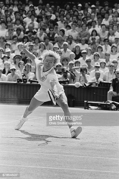 American tennis player Martina Navratilova pictured in action to beat fellow American tennis player Chris EvertLloyd in the final of the Women's...