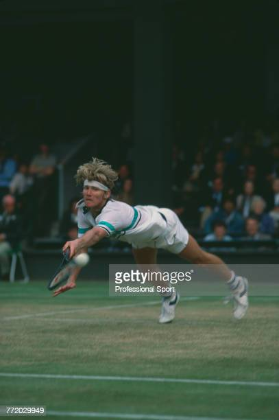 American tennis player Mel Purcell pictured in action against Chris Lewis of New Zealand in the quarterfinals of the Men's Singles tennis tournament...