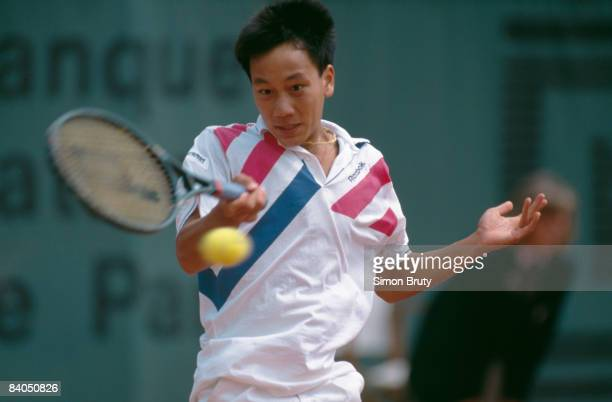 American tennis player Michael Chang at the French Open in Paris 1989 He won the tournament becoming the youngest male winner of a Grand Slam singles...
