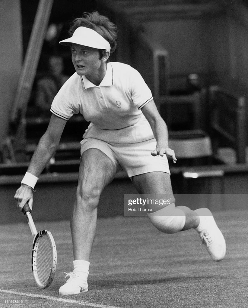 American tennis player Nancy Richey competing against Ann Jones of Great Britain in a Wightman Cup match at Wimbledon, London, 10th June 1966. Jones won the match.