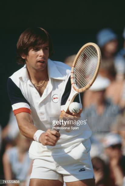American tennis player Pat DuPre pictured in action during progress to reach the semifinals of the Men's Singles tournament at the 1979 Wimbledon...