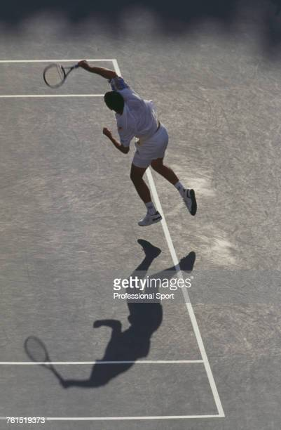 American tennis player Pete Sampras pictured in action competing to progress to win the final of the 1995 US Open Men's Singles tennis tournament at...