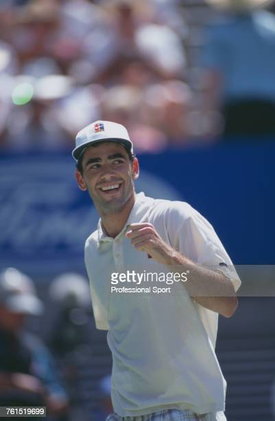 American tennis player Pete Sampras pictured in action competing to progress to win the final of the 1997 Australian Open Men's Singles tennis...