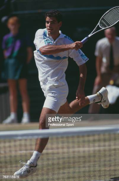 American tennis player Pete Sampras pictured in action competing to beat fellow American Jim Courier 76 76 36 63 in the final of the Men's Singles...