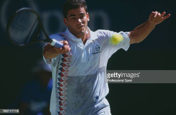 American tennis player Pete Sampras pictured in action competing to progress to win the final of the 1994 Australian Open Men's Singles tennis...