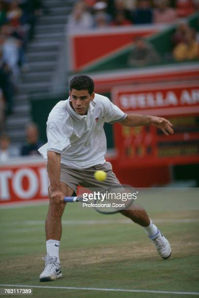 American tennis player Pete Sampras pictured in action during competition to reach the final of the Men's Singles tournament at the 1994 Stella...