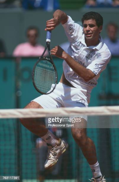 American tennis player Pete Sampras pictured in action during competition to reach the quarterfinals of the Men's Singles tournament at the 1994...