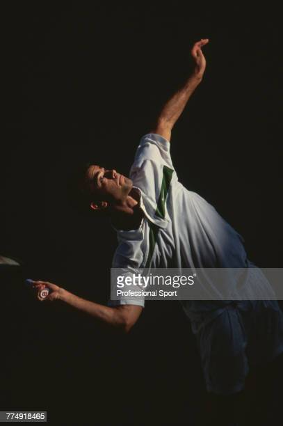 American tennis player Pete Sampras pictured in action during competition to reach the semifinals of the Men's Singles tennis tournament at the 2000...