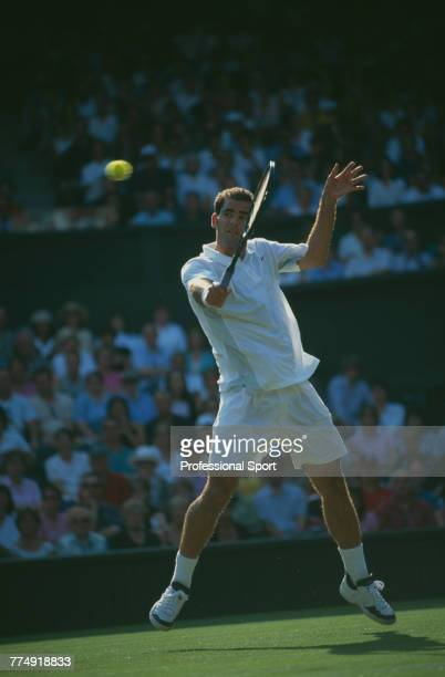 American tennis player Pete Sampras pictured in action during competition to reach the second round of the Men's Singles tennis tournament at the...