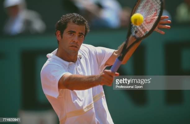 American tennis player Pete Sampras pictured in action during competition to reach the second round of the Men's Singles tournament at the 2001...