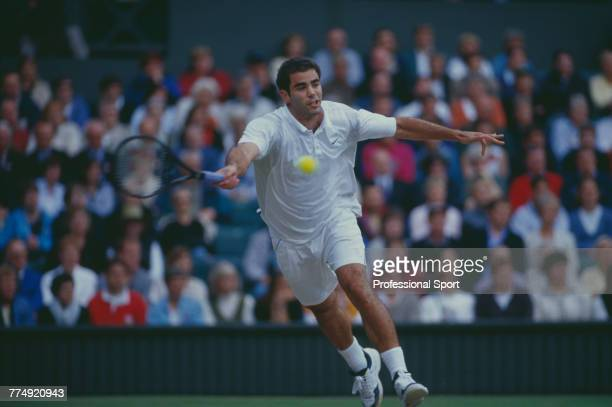 American tennis player Pete Sampras pictured in action during competition to reach and win the final of the Men's Singles tennis tournament at the...
