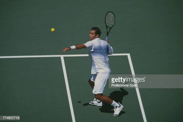 American tennis player Pete Sampras pictured in action during competition to reach and win the final of the Men's Singles tennis tournament during...