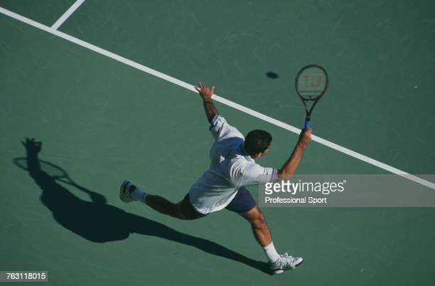 American tennis player Pete Sampras pictured in action during competition to progress to reach the final of the 1995 Australian Open Men's Singles...