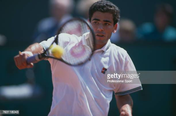 American tennis player Pete Sampras pictured in action to be knocked out by Austrian tennis player Gilbert Schaller in the first round of the Men's...