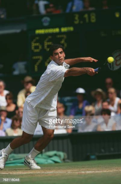 American tennis player Pete Sampras pictured in action to beat Croatian tennis player Goran Ivanisevic 76 46 63 46 63 in the semifinals of the Men's...