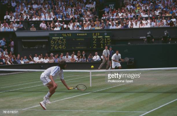 American tennis player Pete Sampras pictured on right in action against Goran Ivanisevic of Croatia to win the final of the Men's Singles tournament...