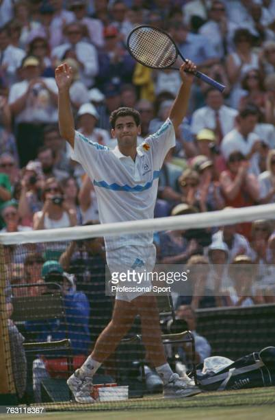 American tennis player Pete Sampras pictured raising his arms in the air in celebration after beating fellow American Jim Courier 76 76 36 63 to win...