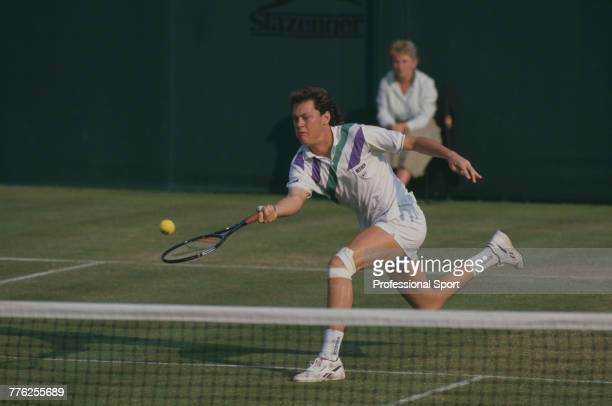 American tennis player Robert Seguso pictured in action during competition to reach the third round of the Men's Singles tennis tournament at the...