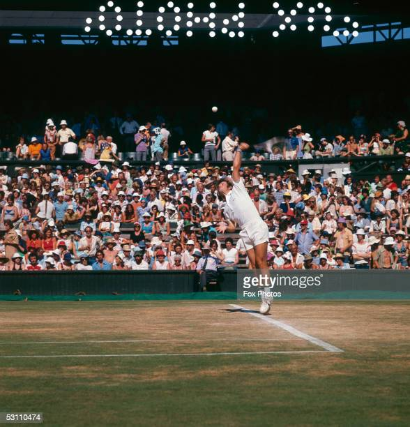 American tennis player Roscoe Tanner in action against Sweden's Bjorn Borg during the semifinal of the men's singles tournament at Wimbledon 1st July...