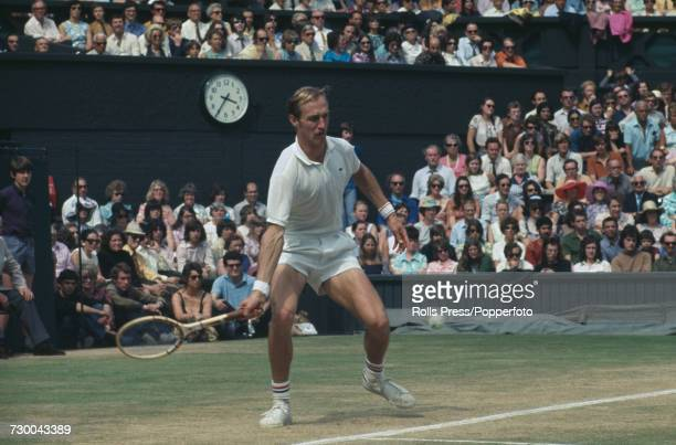 American tennis player Stan Smith pictured in action against Australian tennis player John Newcombe in the final of the Men's Singles competition at...