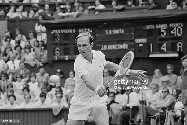American tennis player Stan Smith pictured in action competing to lose the final of the Men's Singles tournament against Australian tennis player...