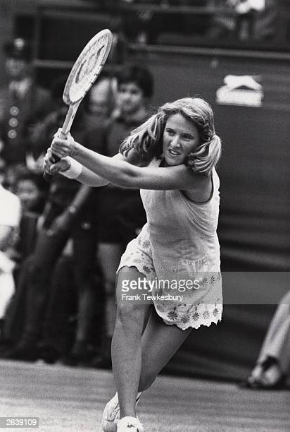 American tennis player Tracy Austin in action at the Wimbledon Lawn Tennis Championships