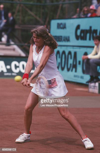 American tennis player Tracy Austin pictured in action competing for the United States to reach and win the final of the 1979 Federation Cup tennis...