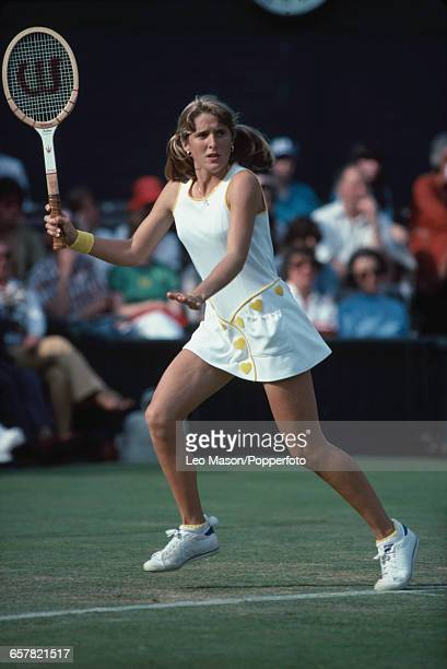 American tennis player Tracy Austin pictured in action competing to progress to reach the fourth round of the Ladies' Singles tournament at the...