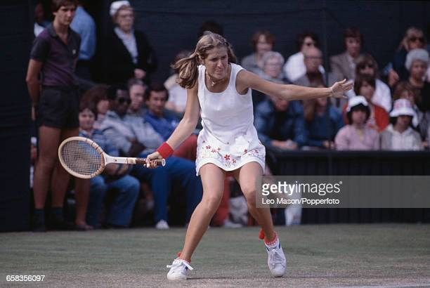 American tennis player Tracy Austin pictured in action competing to reach the semifinals of the Ladies' Singles tournament at the Wimbledon Lawn...