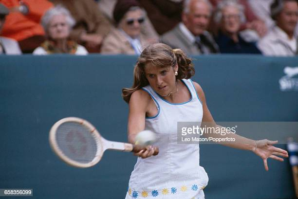 American tennis player Tracy Austin pictured in action competing to progress to reach and win the final of the 1980 BMW Championships Tennis...