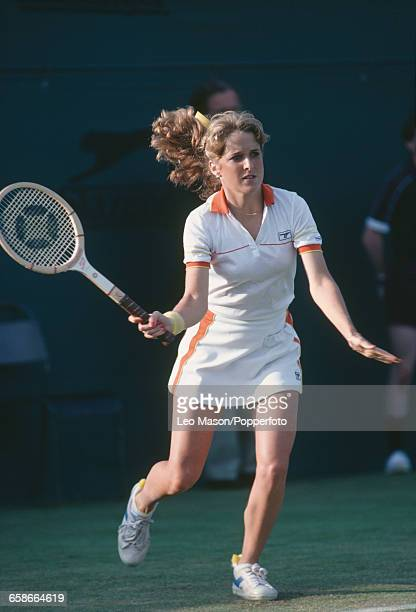 American tennis player Tracy Austin pictured in action during competition to reach the quarterfinals of the Women's Singles tournament at the...