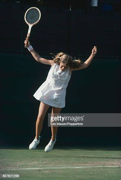 American tennis player Tracy Austin pictured leaping in the air during competition to reach the third round of the Ladies' singles tournament at the...