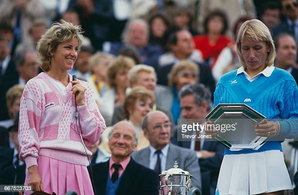 American tennis players Chris Evert and Martina Navratilova with the trophies after Evert beat Navratilova to win the Women's Singles at the French...