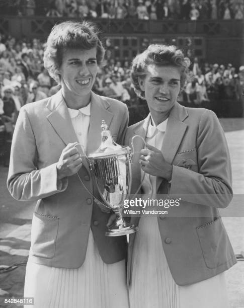 American tennis players Shirley Fry and Doris Hart after winning the Women's Doubles at Wimbledon London 5th July 1952 They defeated Louise Brough...