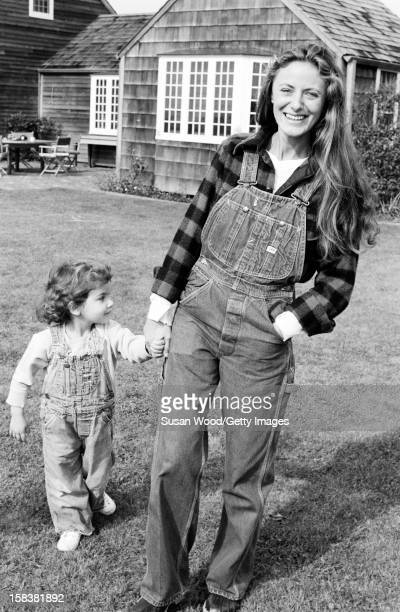 American therapist Ricky Lauren and her daughter Dylan outside their home East Hampton New York November 1977