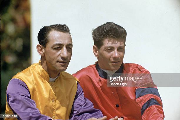American thoroughbred horse racing jockeys Eddie Arcaro and Bill Hartack in their racing silks late 1950s or early 1960s Arcaro and Hartack are the...