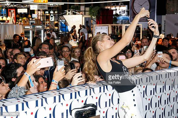 American Topmodel Gigi Hadid with fans during the Bread Butter by Zalando at arena Berlin on September 2 2016 in Berlin Germany