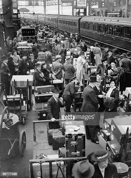 American tourists are leaving London because of the outbreak of Second World War Waterloo Station Photograph