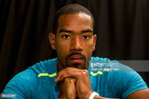 American track and field athlete Christian Taylor poses for a portrait during the Meeting of Paris press conference of the IAAF Diamond League 2017...