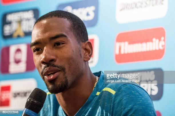 American track and field athlete Christian Taylor speaks during the Meeting of Paris press conference of the IAAF Diamond League 2017 at Mercure...