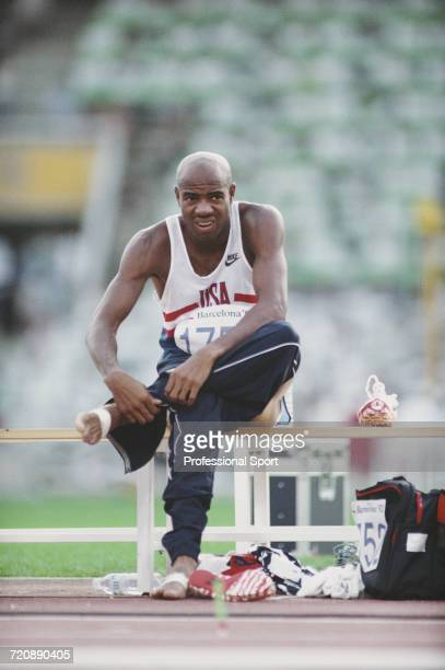 American track and field athlete Mike Powell pictured during action competing for the United States team to finish in second place to win the silver...