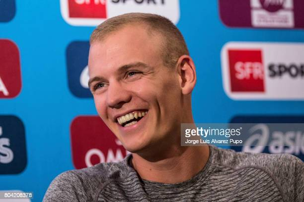 American track and field athlete Sam Kendricks speaks during the Meeting of Paris press conference of the IAAF Diamond League 2017 at Mercure Hotel...