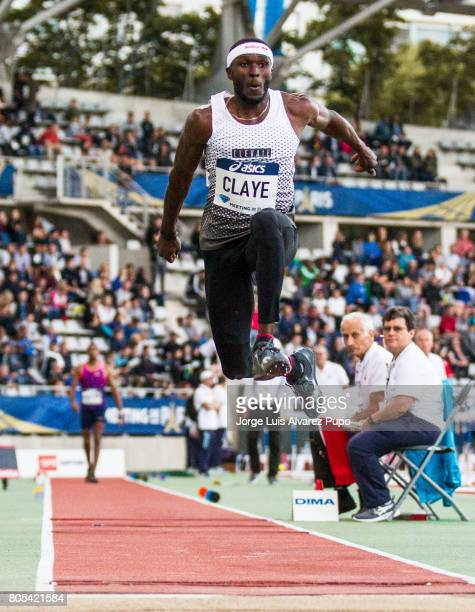 American track and field athlete Will Claye jumps in the Triple Jump competition during Meeting de Paris of the IAAF Diamond League 2017 at Charlety...