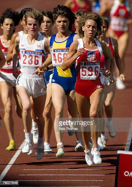 American track athlete Mary Decker leads over eventual silver medallist Paula Ivan of Romania and bronze medal winner Yvonne Murray of Great Britain...